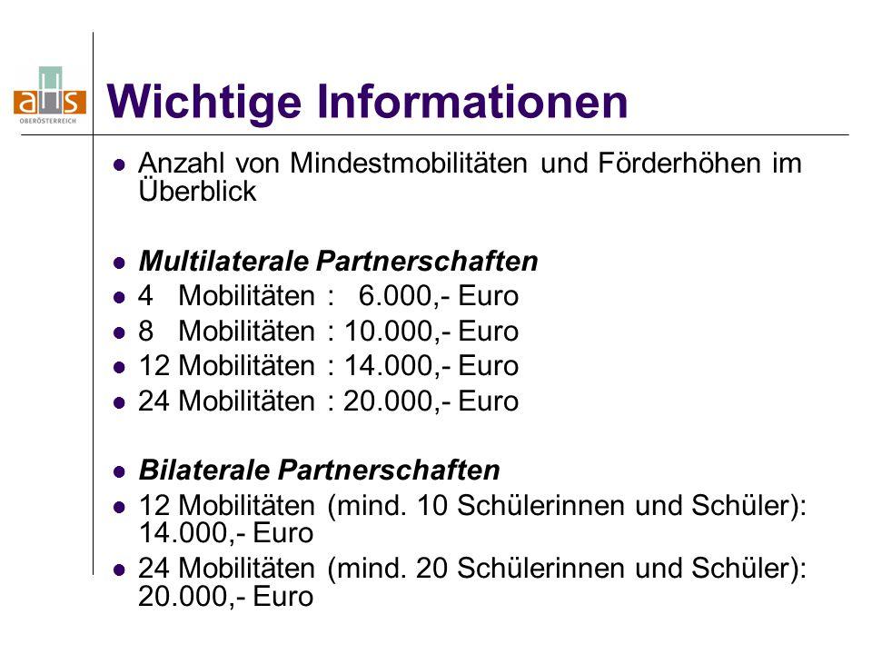 Wichtige Informationen Anzahl von Mindestmobilitäten und Förderhöhen im Überblick Multilaterale Partnerschaften 4 Mobilitäten : 6.000,- Euro 8 Mobilit
