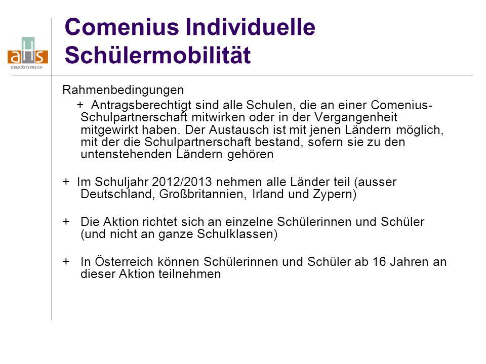 Comenius Individuelle Schülermobilität Rahmenbedingungen + Antragsberechtigt sind alle Schulen, die an einer Comenius- Schulpartnerschaft mitwirken od