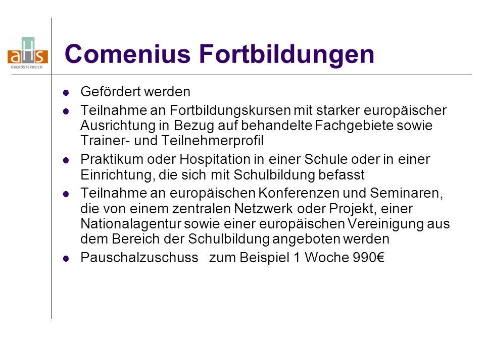 Comenius Fortbildungen Gefördert werden Teilnahme an Fortbildungskursen mit starker europäischer Ausrichtung in Bezug auf behandelte Fachgebiete sowie