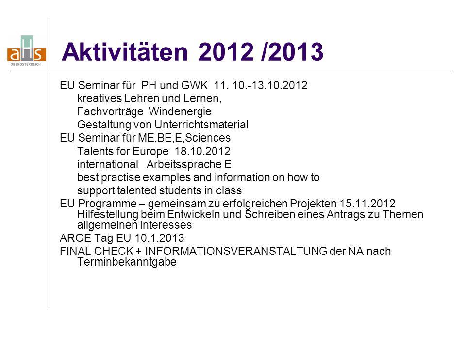 Aktivitäten 2012 /2013 EU Seminar für PH und GWK 11. 10.-13.10.2012 kreatives Lehren und Lernen, Fachvorträge Windenergie Gestaltung von Unterrichtsma