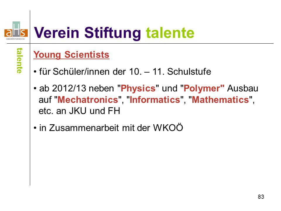 83 Verein Stiftung talente talente Young Scientists für Schüler/innen der 10. – 11. Schulstufe ab 2012/13 neben