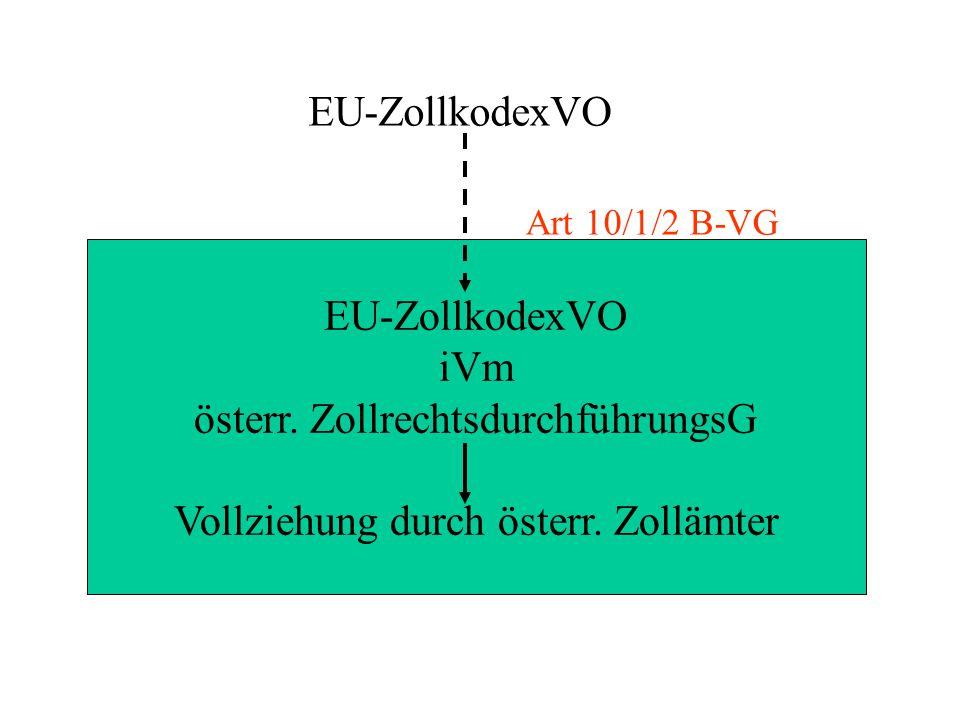 EU-ZollkodexVO iVm österr. ZollrechtsdurchführungsG Vollziehung durch österr. Zollämter Art 10/1/2 B-VG