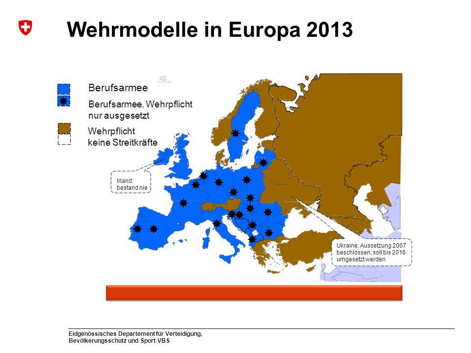 Eidgenössisches Departement für Verteidigung, Bevölkerungsschutz und Sport VBS Wehrmodelle in Europa 2013 Ukraine: Aussetzung 2007 beschlossen, soll b
