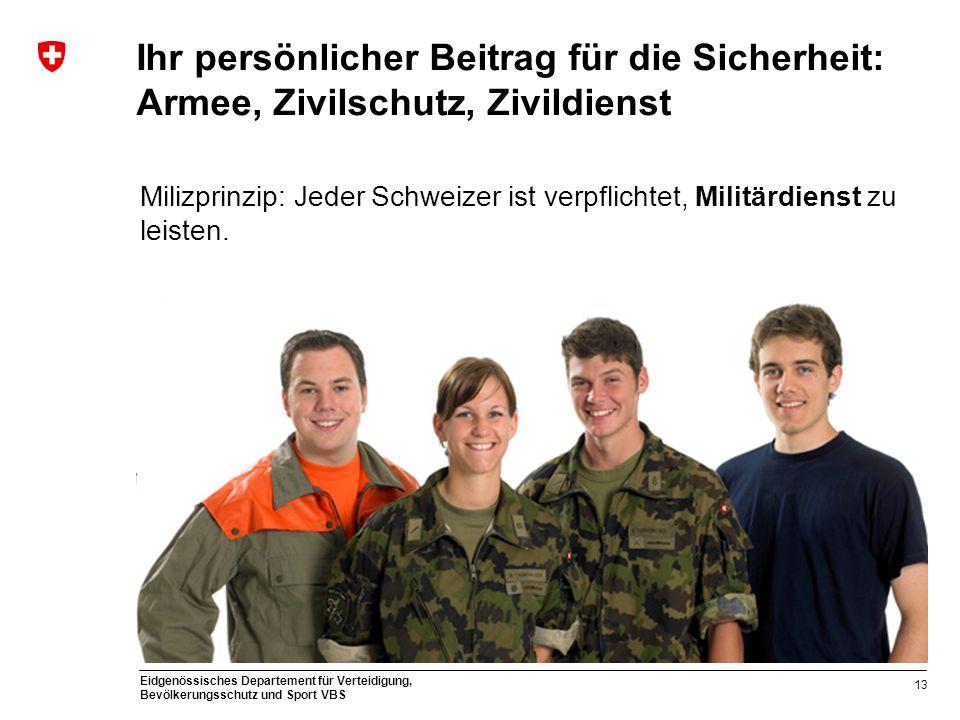 Eidgenössisches Departement für Verteidigung, Bevölkerungsschutz und Sport VBS Ihr persönlicher Beitrag für die Sicherheit: Armee, Zivilschutz, Zivild