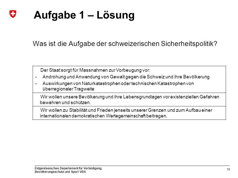 Eidgenössisches Departement für Verteidigung, Bevölkerungsschutz und Sport VBS Aufgabe 1 – Lösung Was ist die Aufgabe der schweizerischen Sicherheitsp