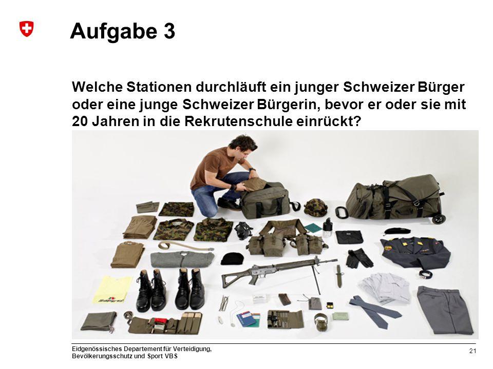 Eidgenössisches Departement für Verteidigung, Bevölkerungsschutz und Sport VBS Aufgabe 3 Welche Stationen durchläuft ein junger Schweizer Bürger oder