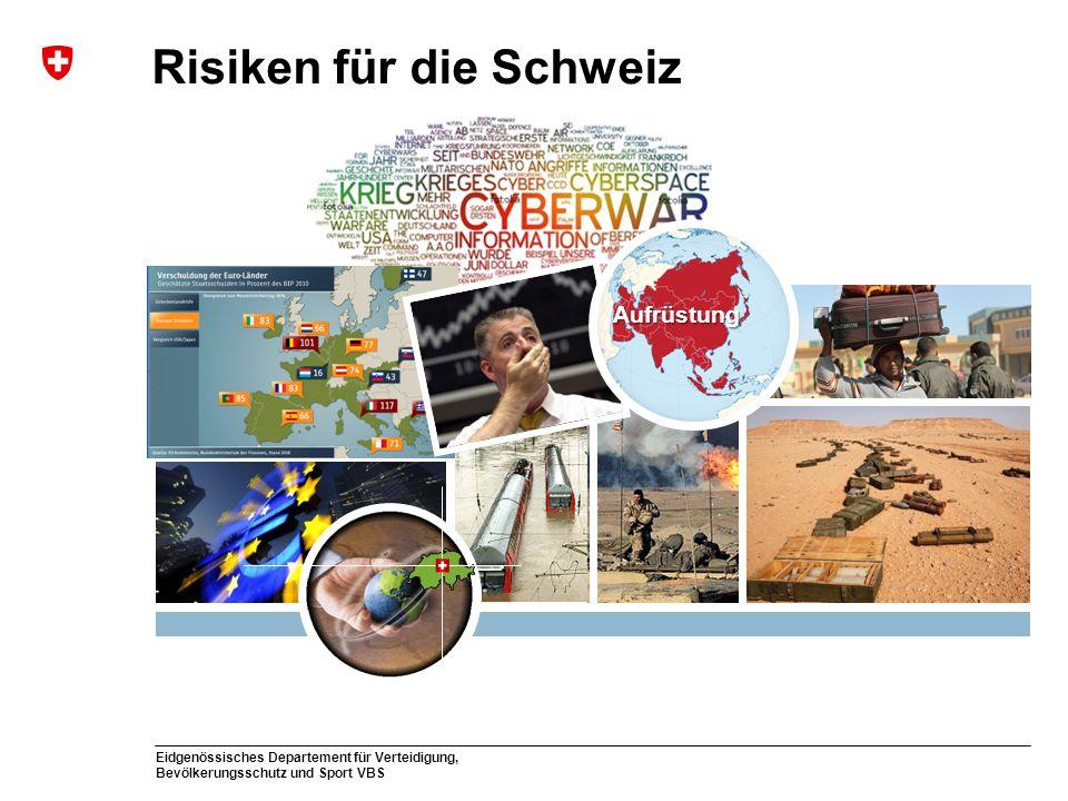 Eidgenössisches Departement für Verteidigung, Bevölkerungsschutz und Sport VBS Risiken für die Schweiz Aufrüstung