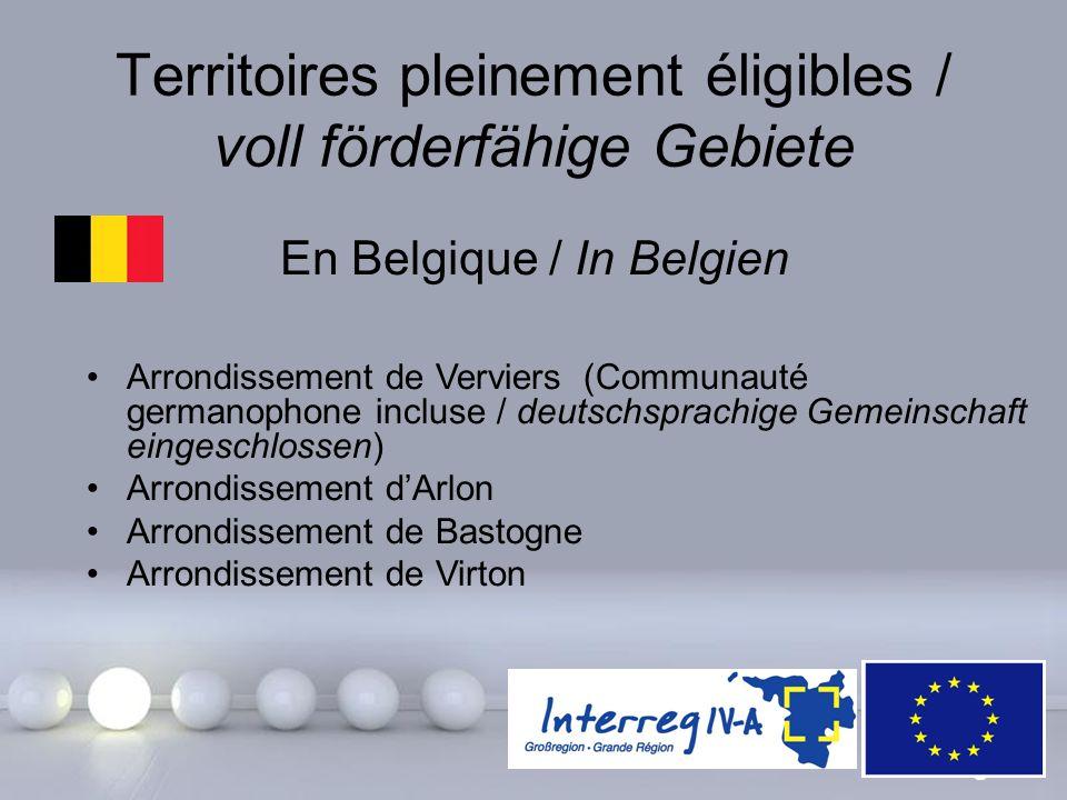 Powerpoint Templates Page 10 Territoires pleinement éligibles / voll förderfähige Gebiete En Belgique / In Belgien Arrondissement de Verviers (Communa