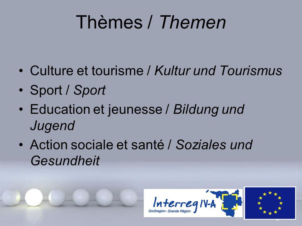 Powerpoint Templates Page 18 Thèmes / Themen Culture et tourisme / Kultur und Tourismus Sport / Sport Education et jeunesse / Bildung und Jugend Actio