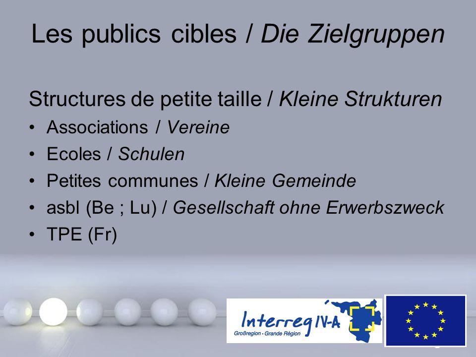 Powerpoint Templates Page 19 Les publics cibles / Die Zielgruppen Structures de petite taille / Kleine Strukturen Associations / Vereine Ecoles / Schu