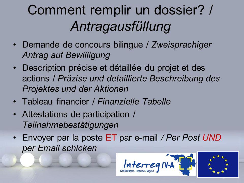Powerpoint Templates Page 25 Comment remplir un dossier? / Antragausfüllung Demande de concours bilingue / Zweisprachiger Antrag auf Bewilligung Descr