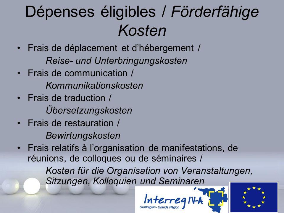 Powerpoint Templates Page 27 Dépenses éligibles / Förderfähige Kosten Frais de déplacement et d'hébergement / Reise- und Unterbringungskosten Frais de