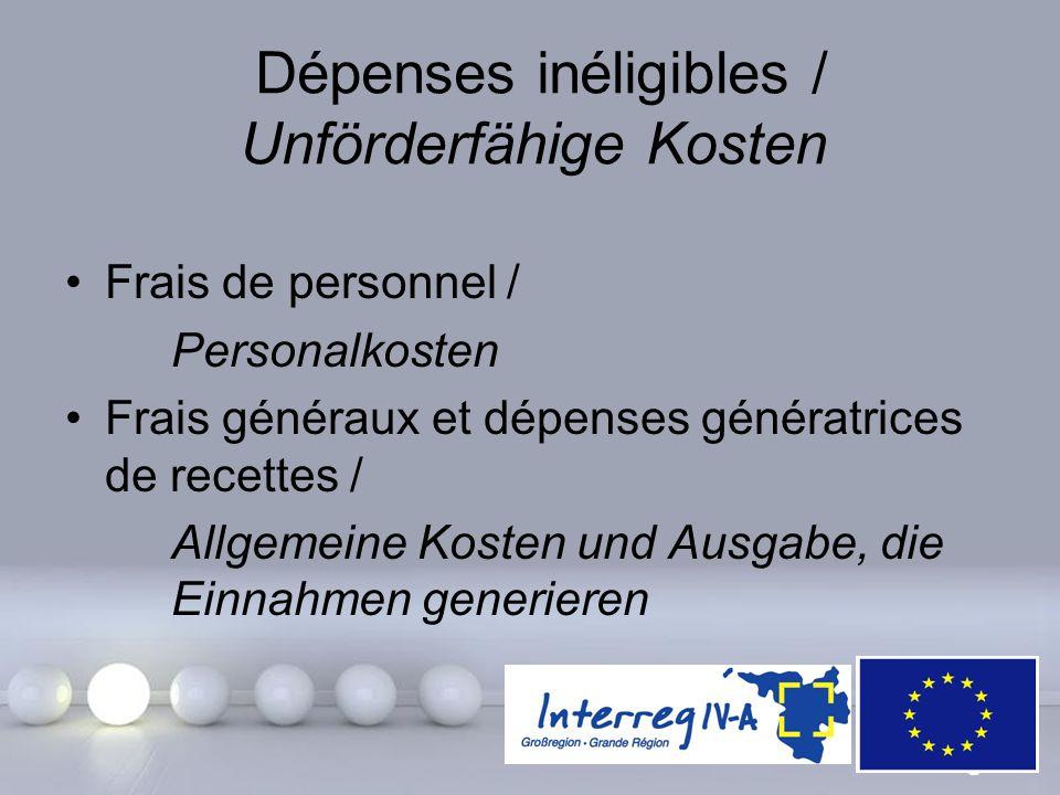 Powerpoint Templates Page 28 Dépenses inéligibles / Unförderfähige Kosten Frais de personnel / Personalkosten Frais généraux et dépenses génératrices