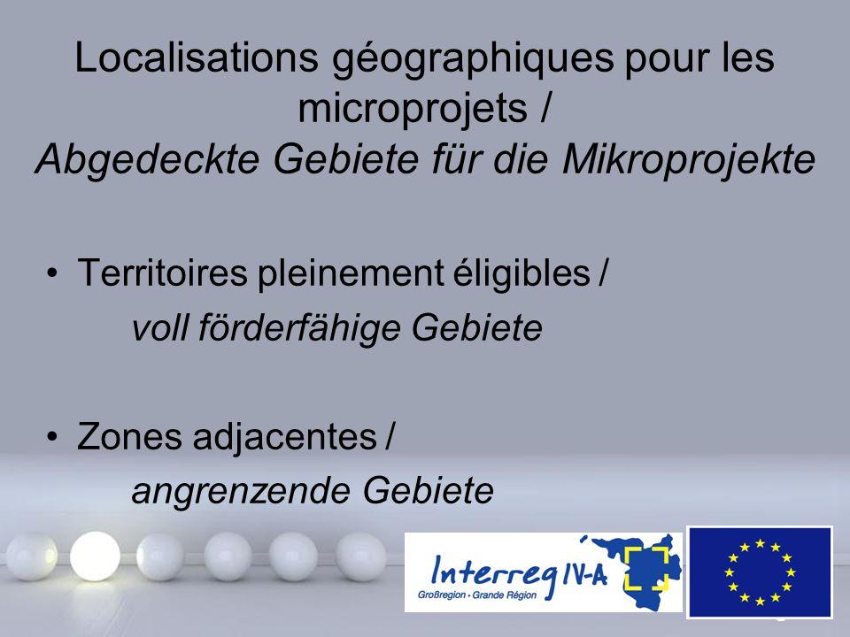 Powerpoint Templates Page 7 Localisations géographiques pour les microprojets / Abgedeckte Gebiete für die Mikroprojekte Territoires pleinement éligib