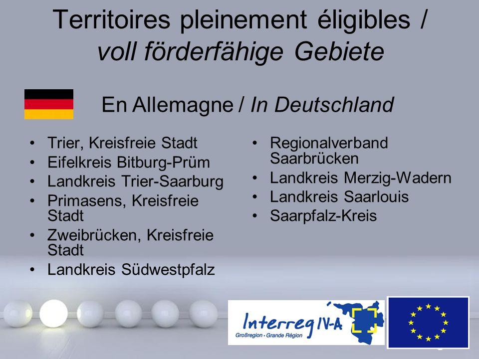 Powerpoint Templates Page 8 Territoires pleinement éligibles / voll förderfähige Gebiete Trier, Kreisfreie Stadt Eifelkreis Bitburg-Prüm Landkreis Tri