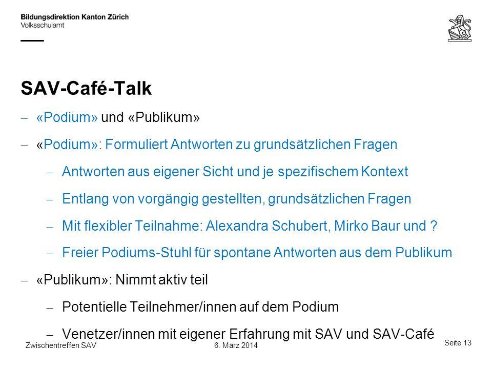 SAV-Café-Talk  «Podium» und «Publikum»  «Podium»: Formuliert Antworten zu grundsätzlichen Fragen  Antworten aus eigener Sicht und je spezifischem K