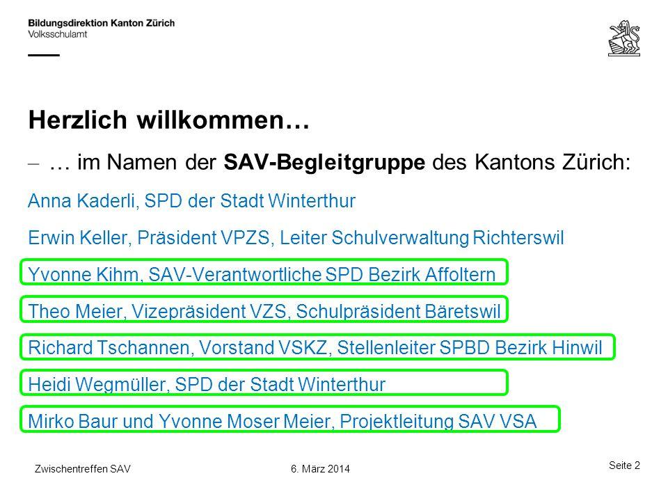 Herzlich willkommen… – … im Namen der SAV-Begleitgruppe des Kantons Zürich: Anna Kaderli, SPD der Stadt Winterthur Erwin Keller, Präsident VPZS, Leite