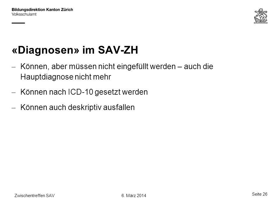 «Diagnosen» im SAV-ZH – Können, aber müssen nicht eingefüllt werden – auch die Hauptdiagnose nicht mehr – Können nach ICD-10 gesetzt werden – Können a