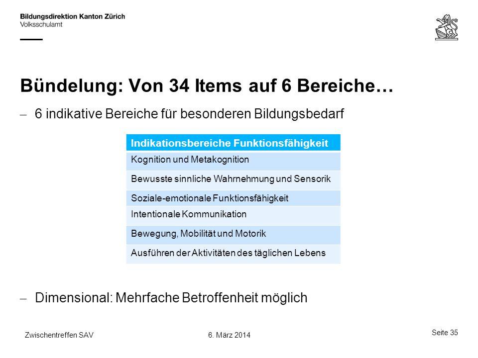 Bündelung: Von 34 Items auf 6 Bereiche… – 6 indikative Bereiche für besonderen Bildungsbedarf – Dimensional: Mehrfache Betroffenheit möglich Indikatio