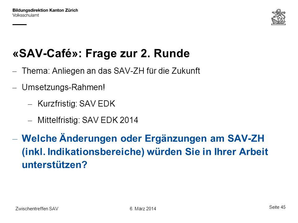 «SAV-Café»: Frage zur 2. Runde – Thema: Anliegen an das SAV-ZH für die Zukunft – Umsetzungs-Rahmen! – Kurzfristig: SAV EDK – Mittelfristig: SAV EDK 20