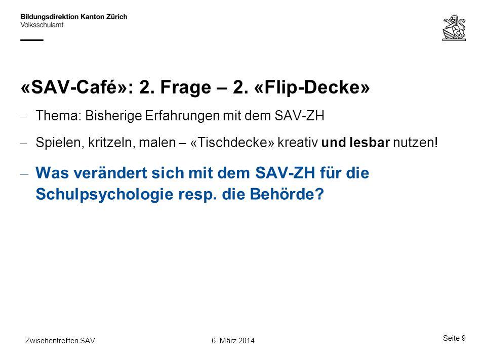 «SAV-Café»: 2. Frage – 2. «Flip-Decke» – Thema: Bisherige Erfahrungen mit dem SAV-ZH – Spielen, kritzeln, malen – «Tischdecke» kreativ und lesbar nutz
