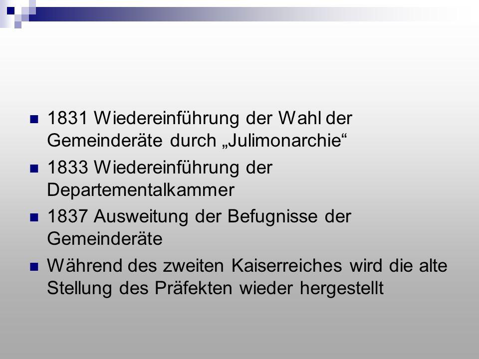 """1831 Wiedereinführung der Wahl der Gemeinderäte durch """"Julimonarchie"""" 1833 Wiedereinführung der Departementalkammer 1837 Ausweitung der Befugnisse der"""