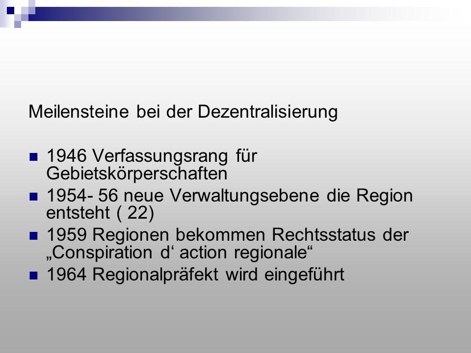 Meilensteine bei der Dezentralisierung 1946 Verfassungsrang für Gebietskörperschaften 1954- 56 neue Verwaltungsebene die Region entsteht ( 22) 1959 Re