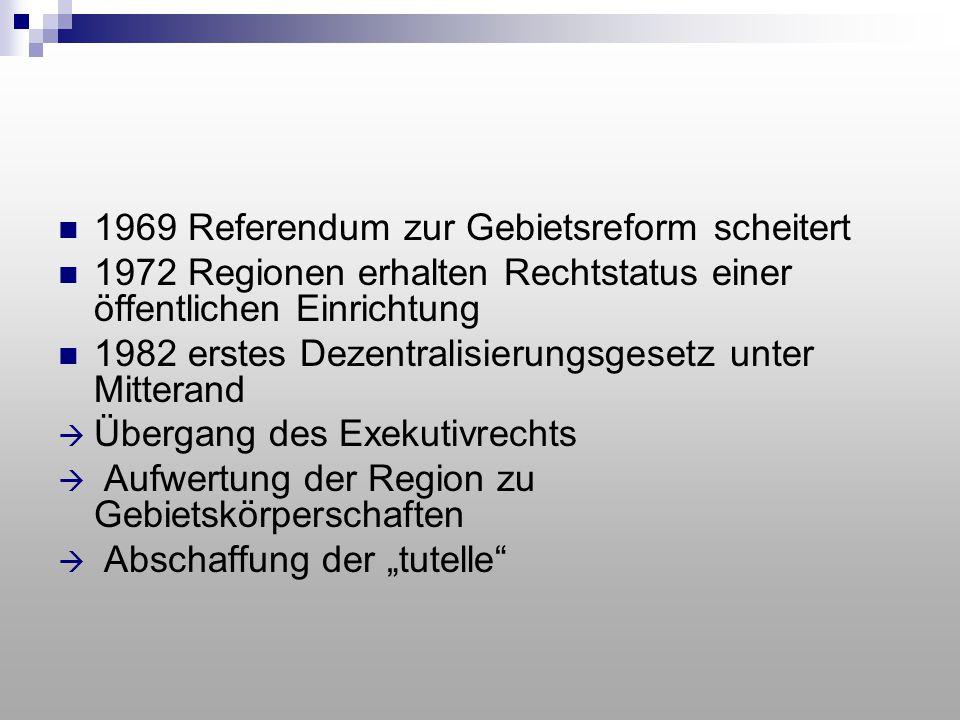 1969 Referendum zur Gebietsreform scheitert 1972 Regionen erhalten Rechtstatus einer öffentlichen Einrichtung 1982 erstes Dezentralisierungsgesetz unt