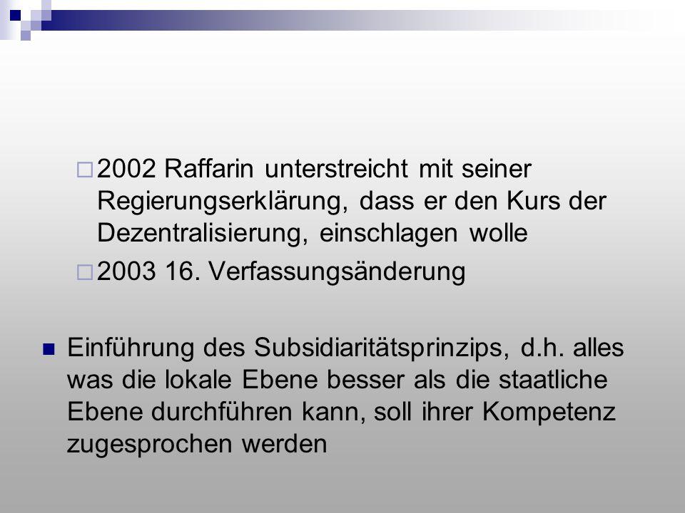  2002 Raffarin unterstreicht mit seiner Regierungserklärung, dass er den Kurs der Dezentralisierung, einschlagen wolle  2003 16. Verfassungsänderung