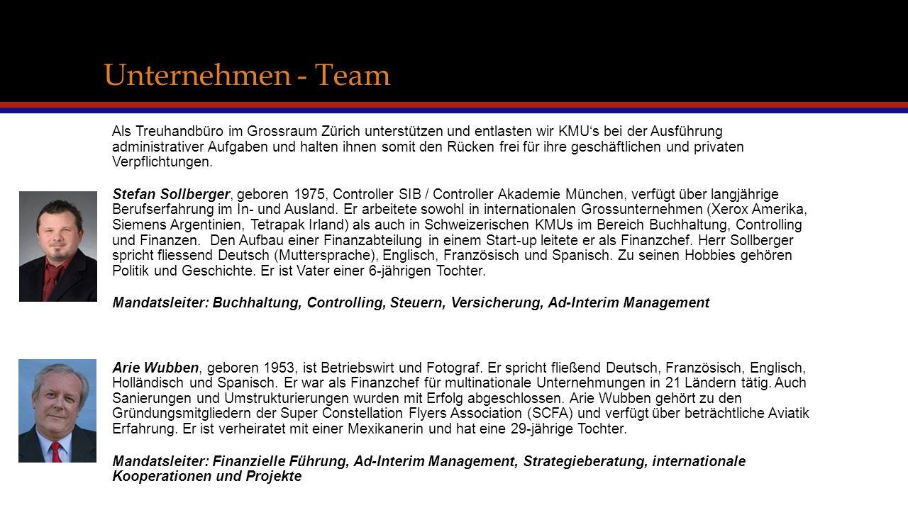 Unternehmen - Team Als Treuhandbüro im Grossraum Zürich unterstützen und entlasten wir KMU's bei der Ausführung administrativer Aufgaben und halten ihnen somit den Rücken frei für ihre geschäftlichen und privaten Verpflichtungen.
