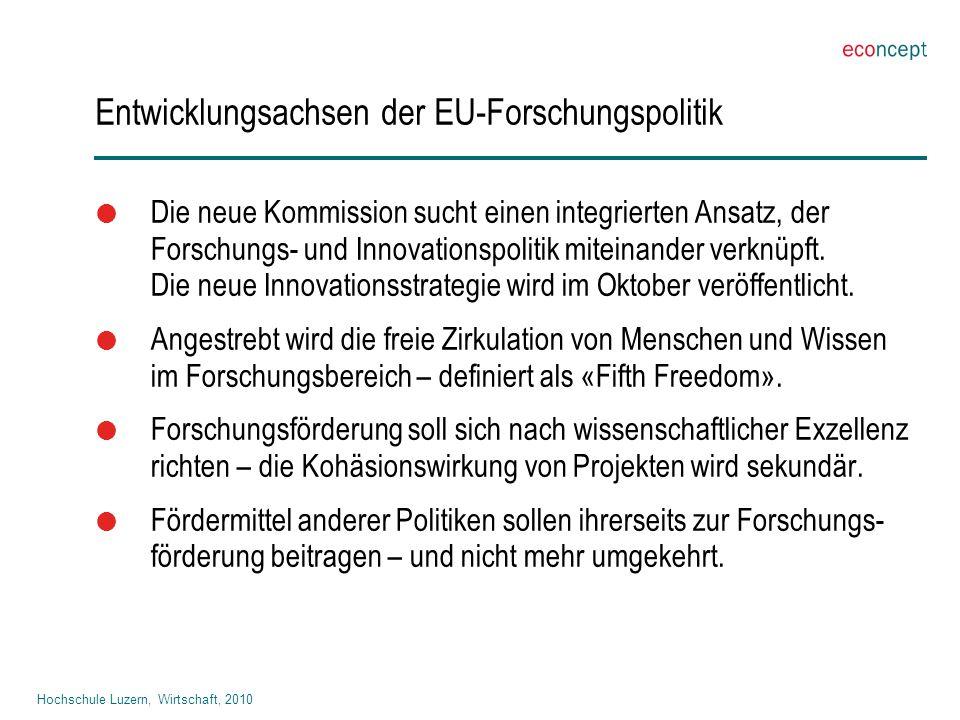 Hochschule Luzern, Wirtschaft, 2010 Entwicklungsachsen der EU-Forschungspolitik  Die neue Kommission sucht einen integrierten Ansatz, der Forschungs- und Innovationspolitik miteinander verknüpft.