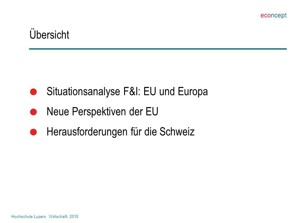 Hochschule Luzern, Wirtschaft, 2010 Übersicht  Situationsanalyse F&I: EU und Europa  Neue Perspektiven der EU  Herausforderungen für die Schweiz