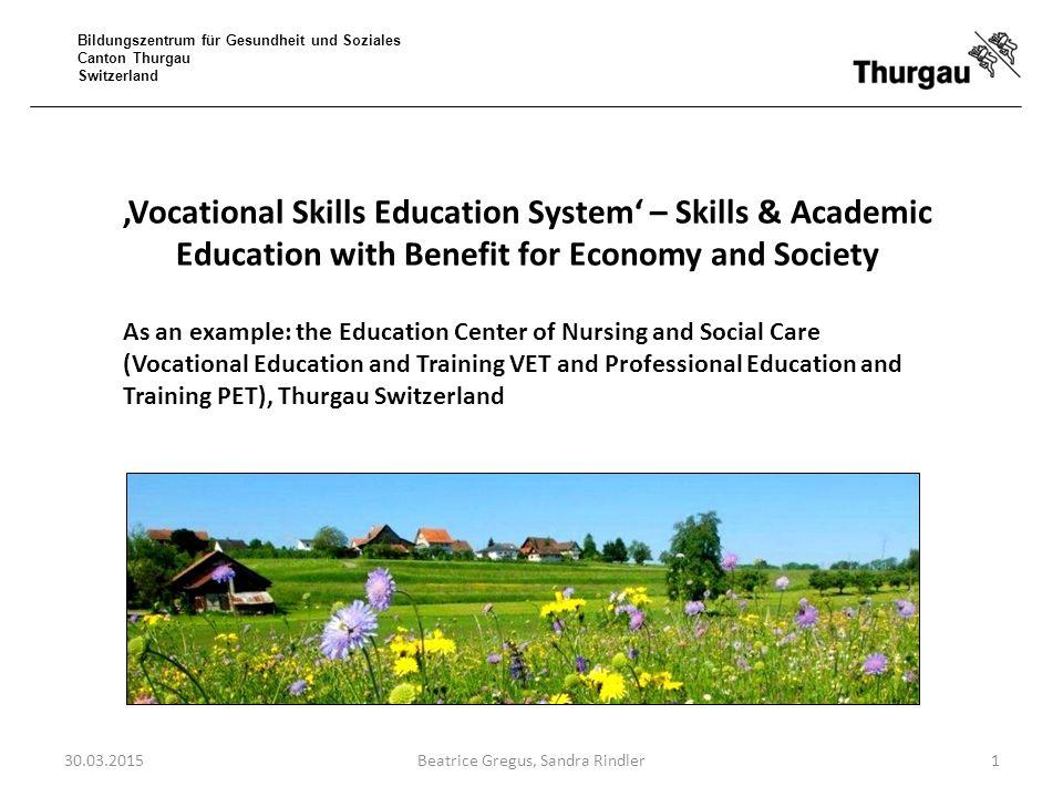 Bildungszentrum für Gesundheit und Soziales Canton Thurgau Switzerland The 20 most common professions in vocational training 30.03.201512