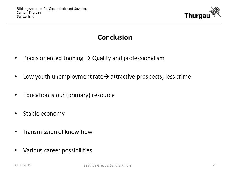 Bildungszentrum für Gesundheit und Soziales Canton Thurgau Switzerland Conclusion Praxis oriented training → Quality and professionalism Low youth une