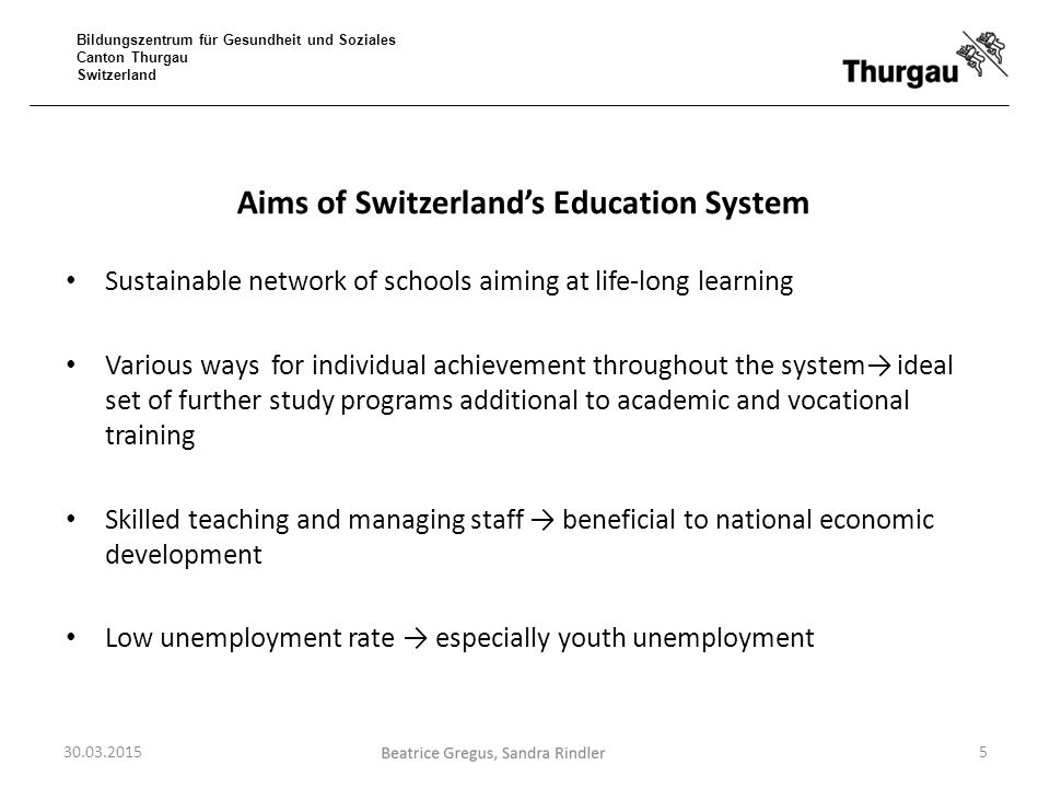 Bildungszentrum für Gesundheit und Soziales Canton Thurgau Switzerland Aims of Switzerland's Education System Sustainable network of schools aiming at