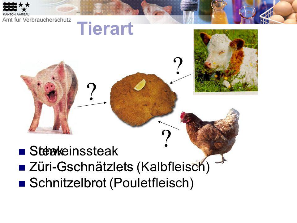 Steak Züri-Gschnätzlets Schnitzelbrot Tierart    Schweinssteak Züri-Gschnätzlets (Kalbfleisch) Schnitzelbrot (Pouletfleisch)