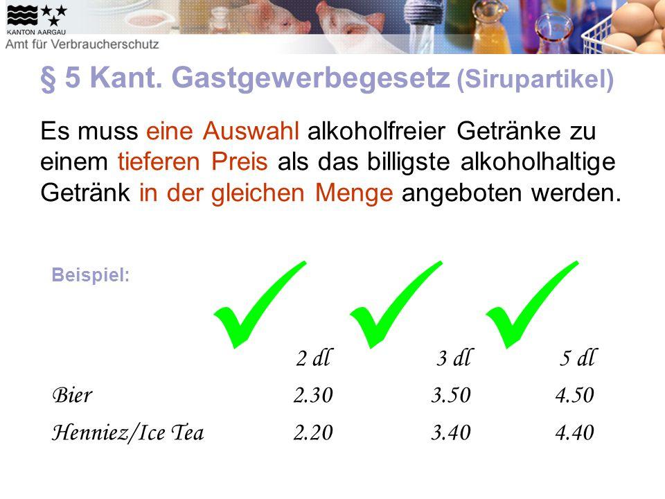 § 5 Kant. Gastgewerbegesetz (Sirupartikel) Es muss eine Auswahl alkoholfreier Getränke zu einem tieferen Preis als das billigste alkoholhaltige Geträn
