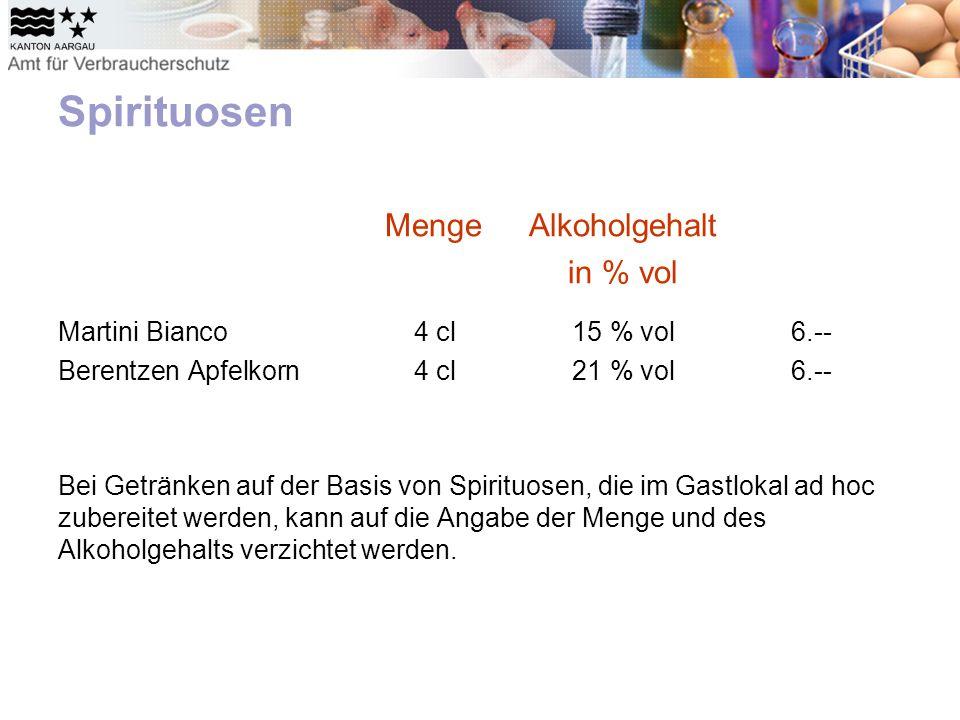 Spirituosen MengeAlkoholgehalt in % vol Martini Bianco4 cl15 % vol6.-- Berentzen Apfelkorn4 cl21 % vol6.-- Bei Getränken auf der Basis von Spirituosen, die im Gastlokal ad hoc zubereitet werden, kann auf die Angabe der Menge und des Alkoholgehalts verzichtet werden.