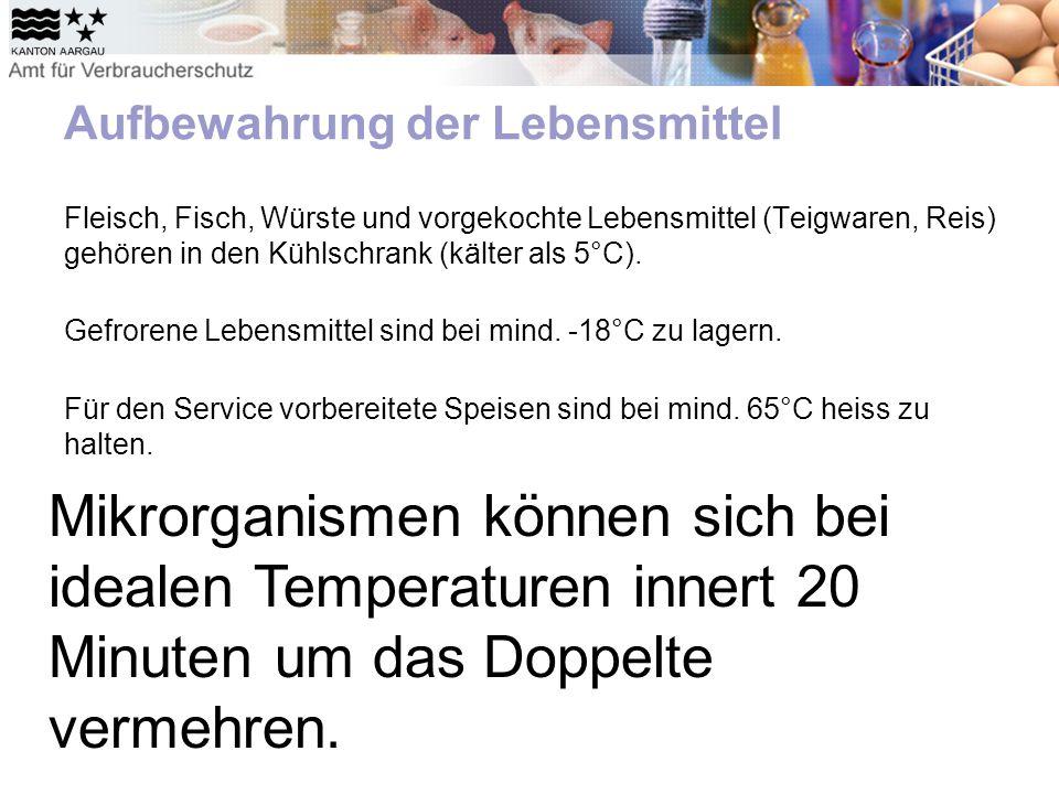 Aufbewahrung der Lebensmittel Fleisch, Fisch, Würste und vorgekochte Lebensmittel (Teigwaren, Reis) gehören in den Kühlschrank (kälter als 5°C).