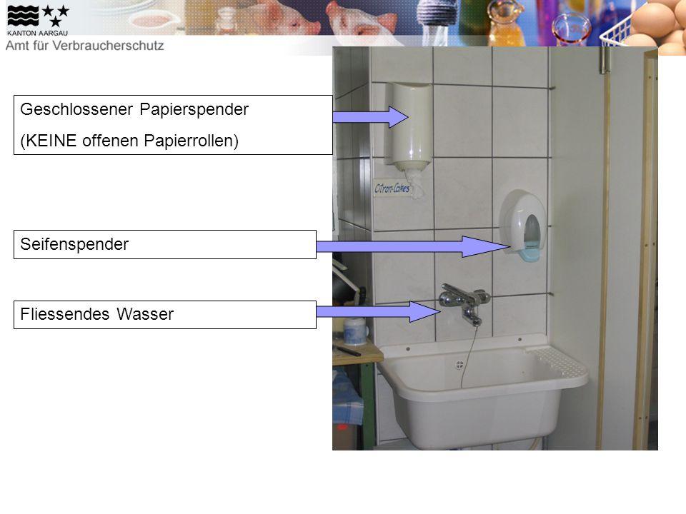 Geschlossener Papierspender (KEINE offenen Papierrollen) Seifenspender Fliessendes Wasser