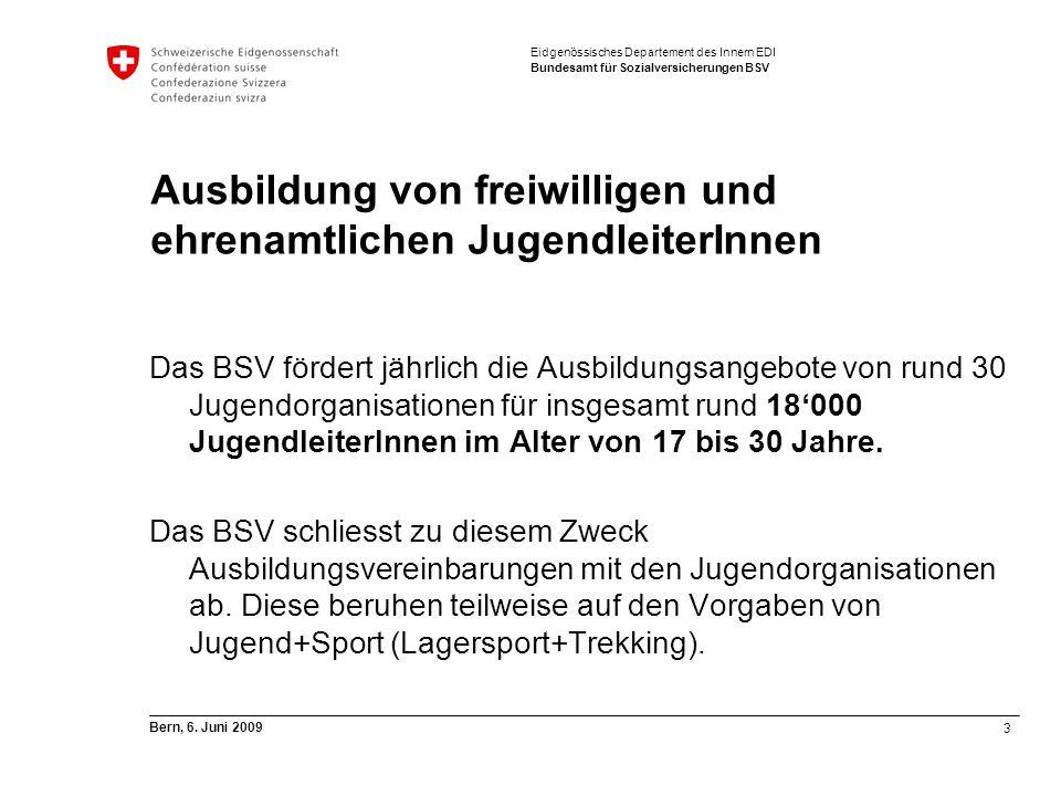 3 Bern, 6. Juni 2009 Eidgenössisches Departement des Innern EDI Bundesamt für Sozialversicherungen BSV Ausbildung von freiwilligen und ehrenamtlichen