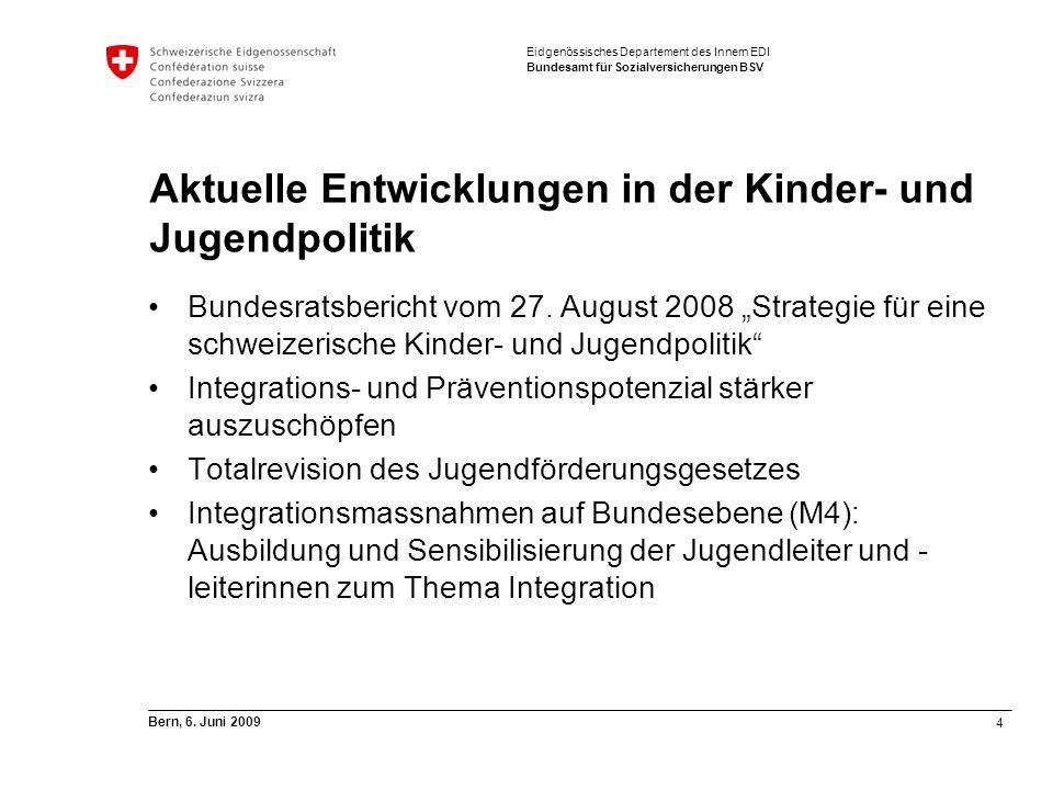 4 Bern, 6. Juni 2009 Eidgenössisches Departement des Innern EDI Bundesamt für Sozialversicherungen BSV Aktuelle Entwicklungen in der Kinder- und Jugen