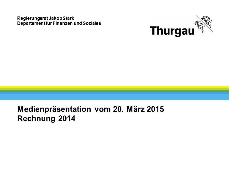Regierungsrat Jakob Stark Departement für Finanzen und Soziales Medienpräsentation vom 20. März 2015 Rechnung 2014