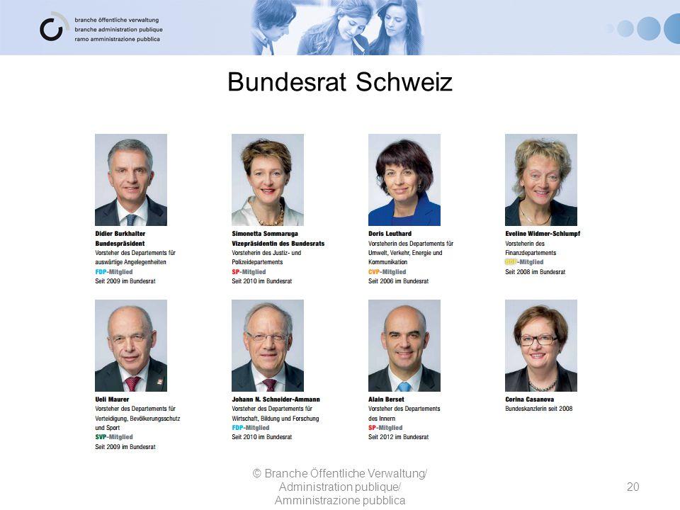 Bundesrat Schweiz 20 © Branche Öffentliche Verwaltung/ Administration publique/ Amministrazione pubblica