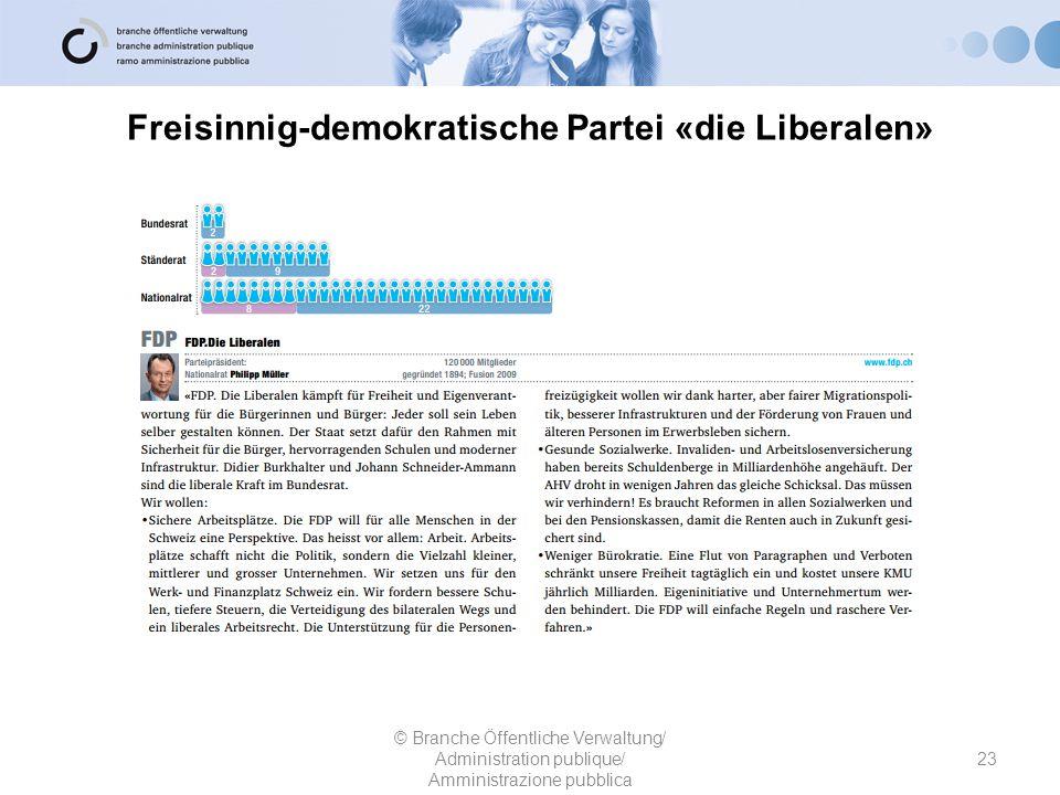 Freisinnig-demokratische Partei «die Liberalen» 23 © Branche Öffentliche Verwaltung/ Administration publique/ Amministrazione pubblica
