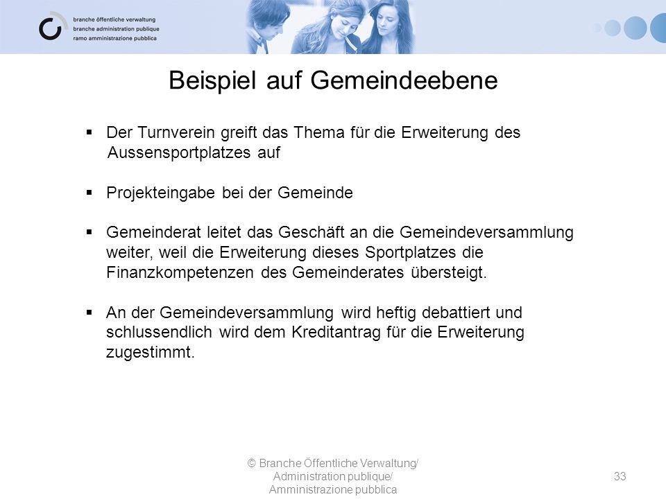Beispiel auf Gemeindeebene 33 © Branche Öffentliche Verwaltung/ Administration publique/ Amministrazione pubblica  Der Turnverein greift das Thema fü