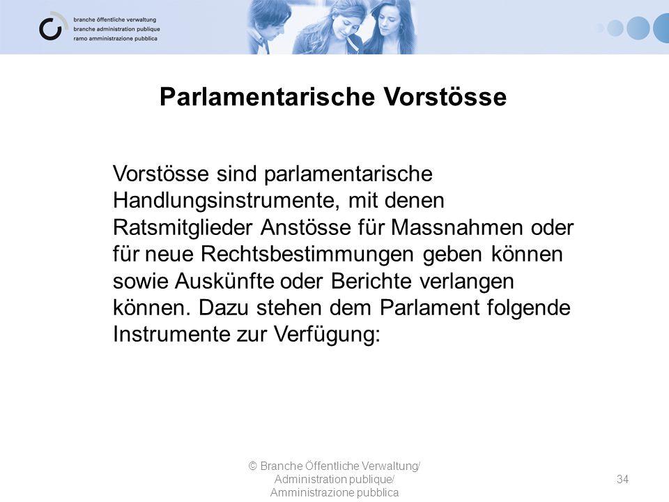 Parlamentarische Vorstösse 34 © Branche Öffentliche Verwaltung/ Administration publique/ Amministrazione pubblica Vorstösse sind parlamentarische Hand
