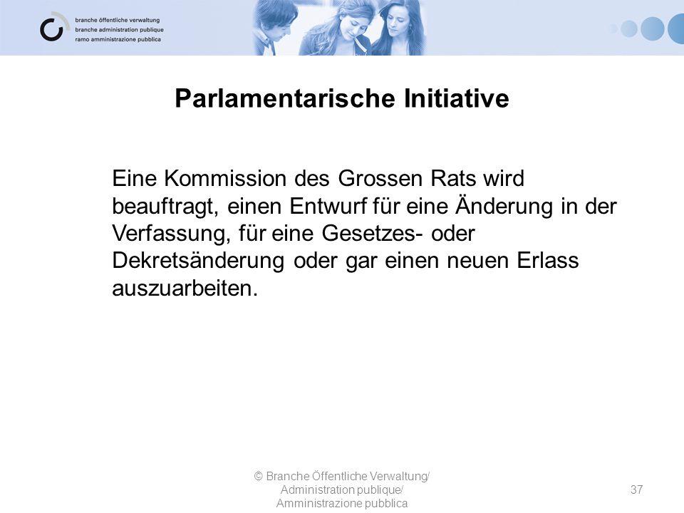 Parlamentarische Initiative Eine Kommission des Grossen Rats wird beauftragt, einen Entwurf für eine Änderung in der Verfassung, für eine Gesetzes- od
