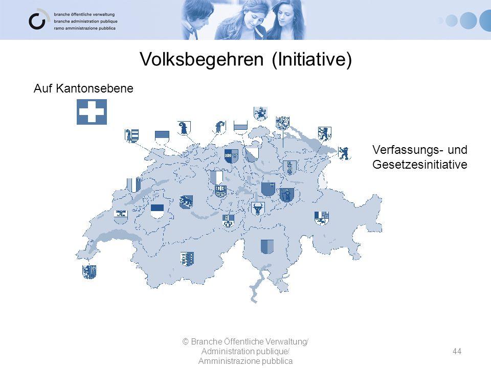 Volksbegehren (Initiative) 44 © Branche Öffentliche Verwaltung/ Administration publique/ Amministrazione pubblica Auf Kantonsebene Verfassungs- und Ge