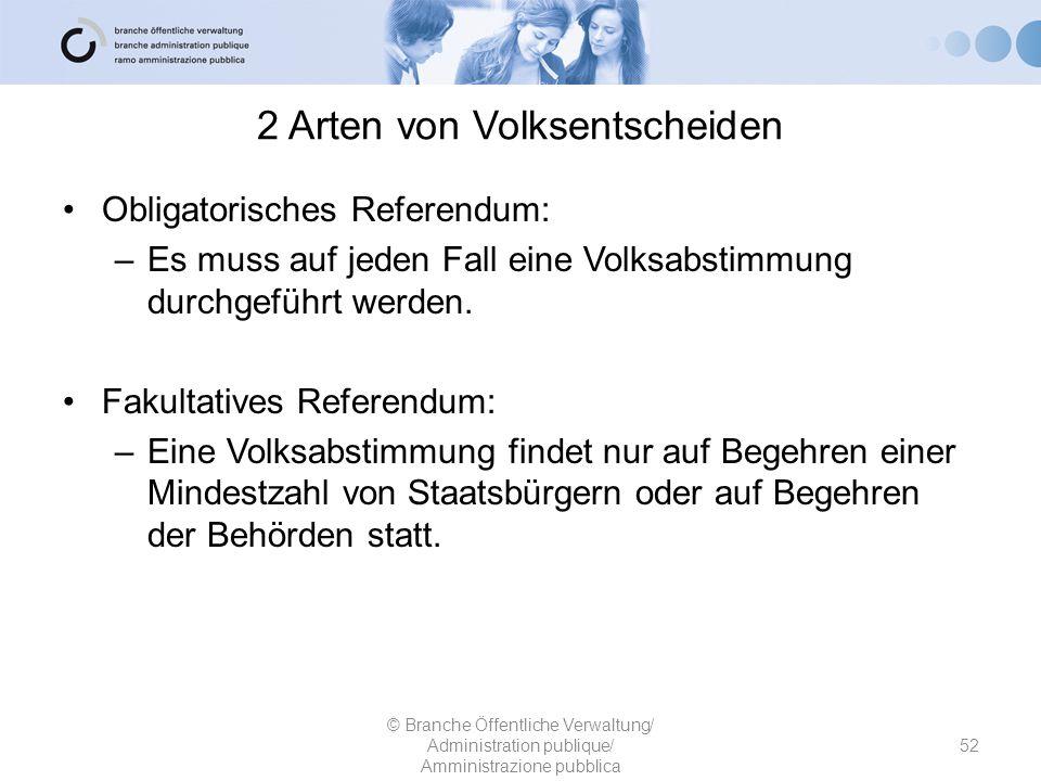 2 Arten von Volksentscheiden 52 © Branche Öffentliche Verwaltung/ Administration publique/ Amministrazione pubblica Obligatorisches Referendum: –Es mu